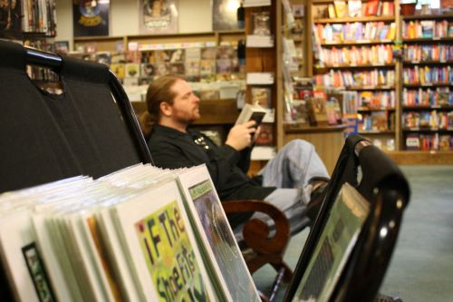 Spying on a handsome hippy at the Northshire Bookstore, Manchester, VT